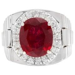 9.70 Carat Natural Diamond and Ruby 14 Karat Solid White Gold Men's Ring