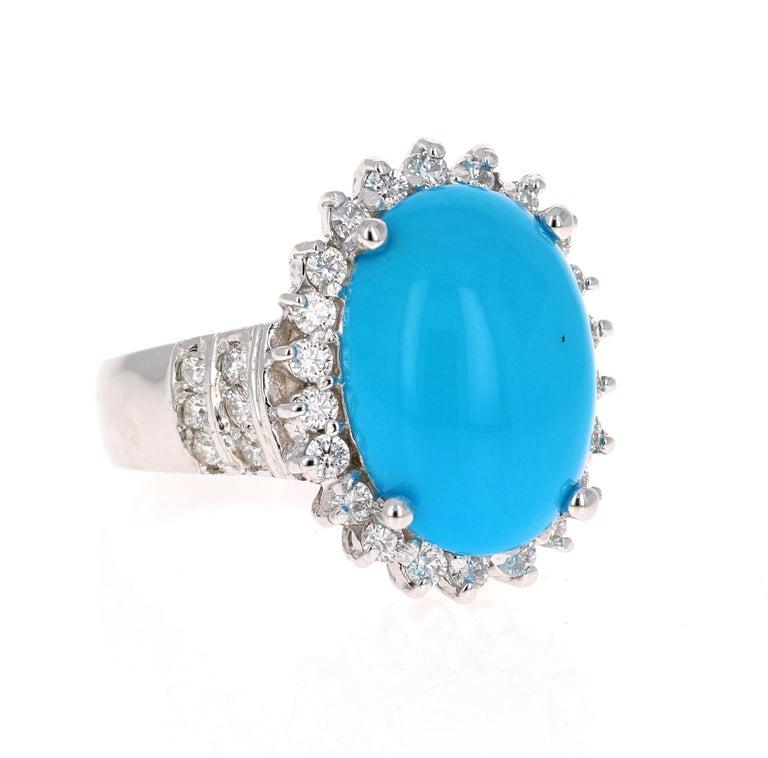 Modern 9.70 Carat Turquoise Diamond 14 Karat White Gold Cocktail Ring For Sale