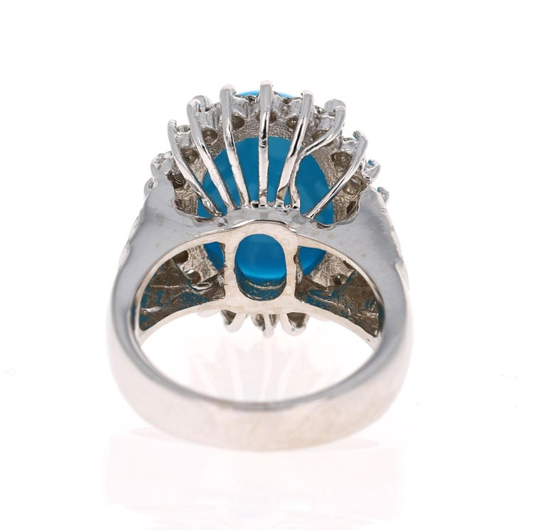 Oval Cut 9.70 Carat Turquoise Diamond 14 Karat White Gold Cocktail Ring For Sale