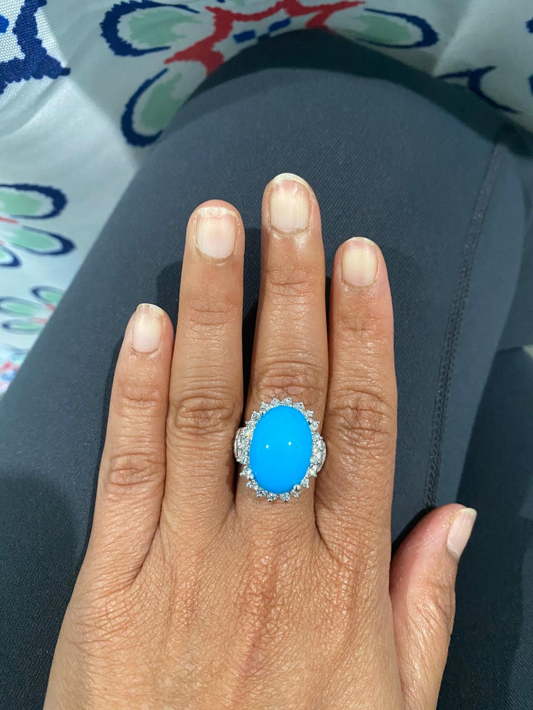 9.70 Carat Turquoise Diamond 14 Karat White Gold Cocktail Ring In New Condition For Sale In Los Angeles, CA