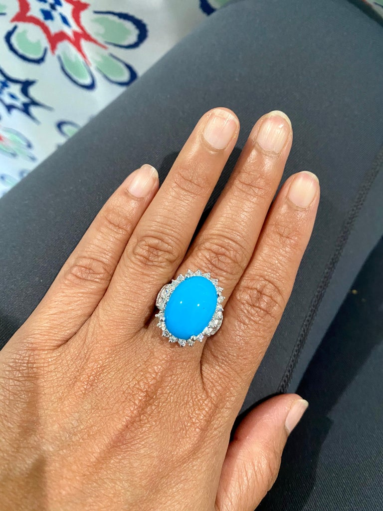 Women's 9.70 Carat Turquoise Diamond 14 Karat White Gold Cocktail Ring For Sale