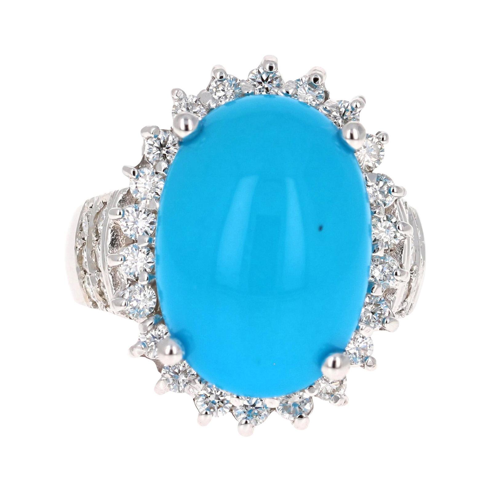 9.70 Carat Turquoise Diamond 14 Karat White Gold Cocktail Ring