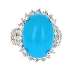 9.70 Carat Turquoise Diamond 14 Karat White Gold Cocktail Ring