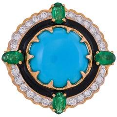 9.70 Carat Turquoise Emerald Diamond Black Enamel 18 Karat Yellow Gold Ring
