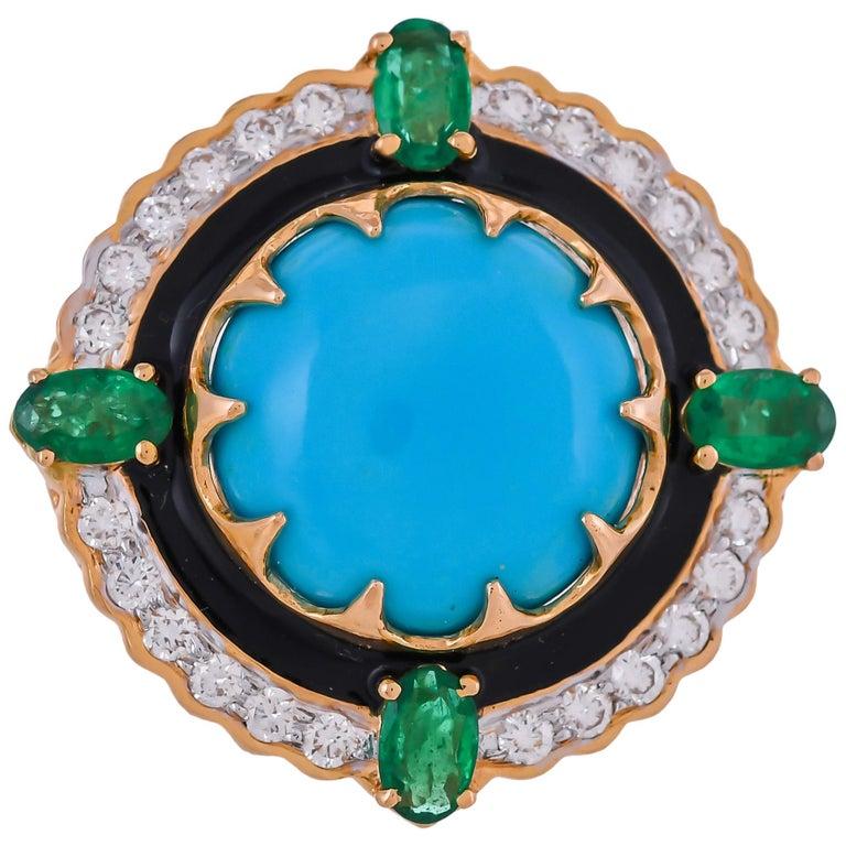 9.70 Carat Turquoise Emerald Diamond Black Enamel 18 Karat Yellow Gold Ring For Sale