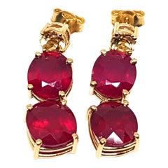 9.70 Carat Yellow Gold Ruby Topaz Earrings