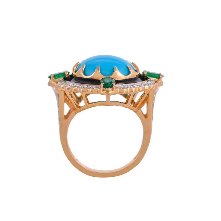 Modern 9.70 Carat Turquoise Emerald Diamond Black Enamel 18 Karat Yellow Gold Ring For Sale