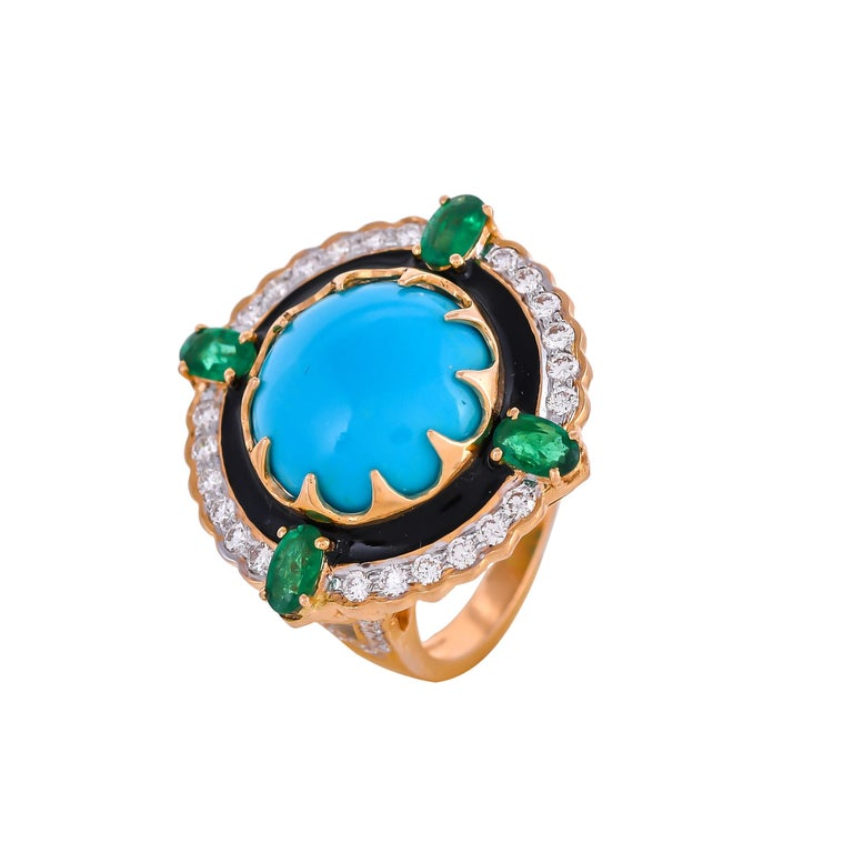 9.70 Carat Turquoise Emerald Diamond Black Enamel 18 Karat Yellow Gold Ring In New Condition For Sale In Hunghom,, Kowloon