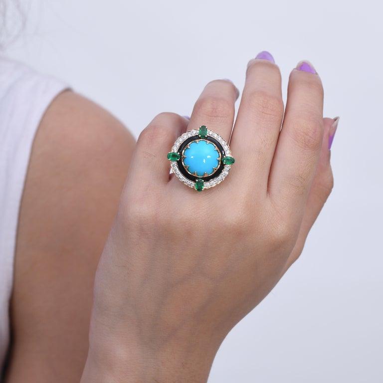 Women's 9.70 Carat Turquoise Emerald Diamond Black Enamel 18 Karat Yellow Gold Ring For Sale