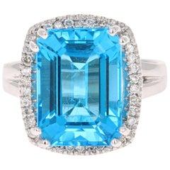 9.71 Carat Blue Topaz Diamond 14 Karat White Gold Cocktail Ring