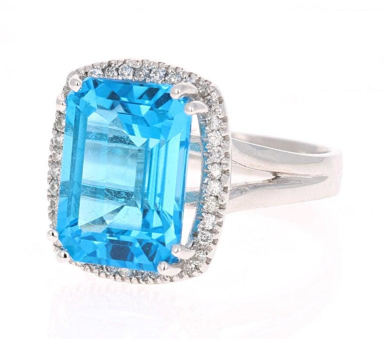 Modern 9.71 Carat Blue Topaz Diamond 14K White Gold Cocktail Ring