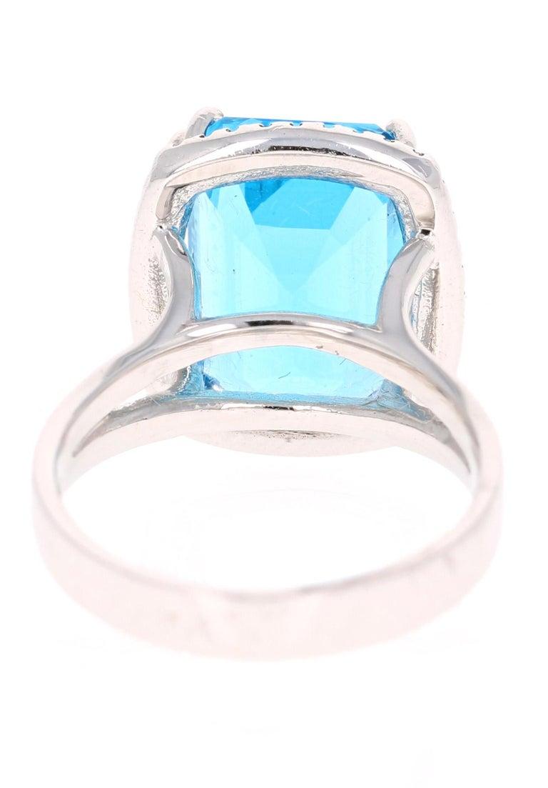 Emerald Cut 9.71 Carat Blue Topaz Diamond 14K White Gold Cocktail Ring