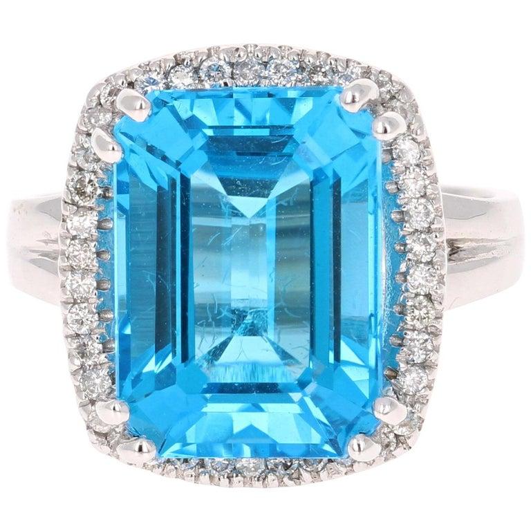 9.71 Carat Blue Topaz Diamond 14K White Gold Cocktail Ring