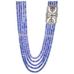 972 Carat of Tanzanite with 8.56 Carat of Diamond Necklace set in Platinum