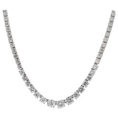 9.73 Carat Diamond Graduated Riviera Necklace in 18 Karat White Gold