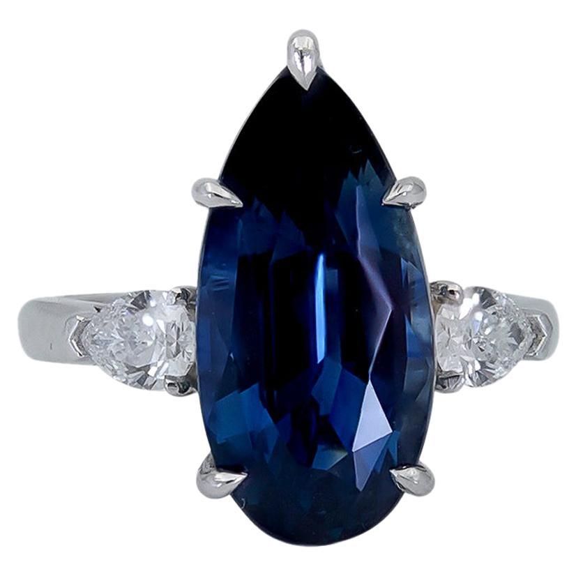9.73 Carat Pear Shape Blue Sapphire and Diamond Three-Stone Engagement Ring