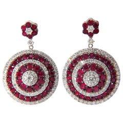 9.74 Carat Natural Red Ruby Diamond Dangling Earrings 18 Karat Roulette Bullseye