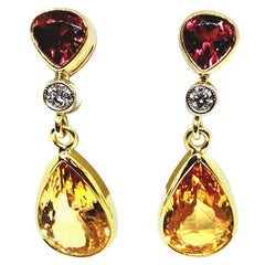 9.74 ct. t.w. Precious Topaz Pear, Garnet, Diamond 18k Yellow Dangle Earrings
