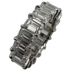 9.75 Carat Emerald Cut Diamond Eternity Band Ring