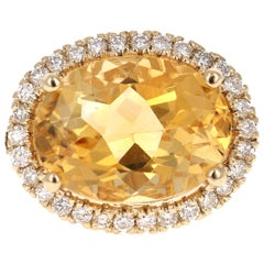9.76 Carat Oval Cut Citrine Sapphire Diamond 14 Karat Yellow Gold Ring
