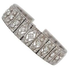 9.78 Carat Round Brilliant Cut Diamond Bracelet Set in 18k White Gold