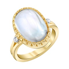 9.79 Carat Blue Flash Moonstone White Yellow Gold Bezel Set Dome Cocktail Ring