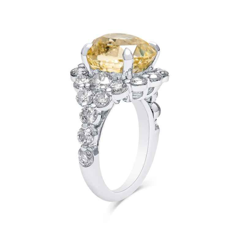 9.79 Carat Cushion Cut Ceylon Natural Yellow Sapphire 'GIA' No Heat Diamond Ring In New Condition For Sale In Houston, TX