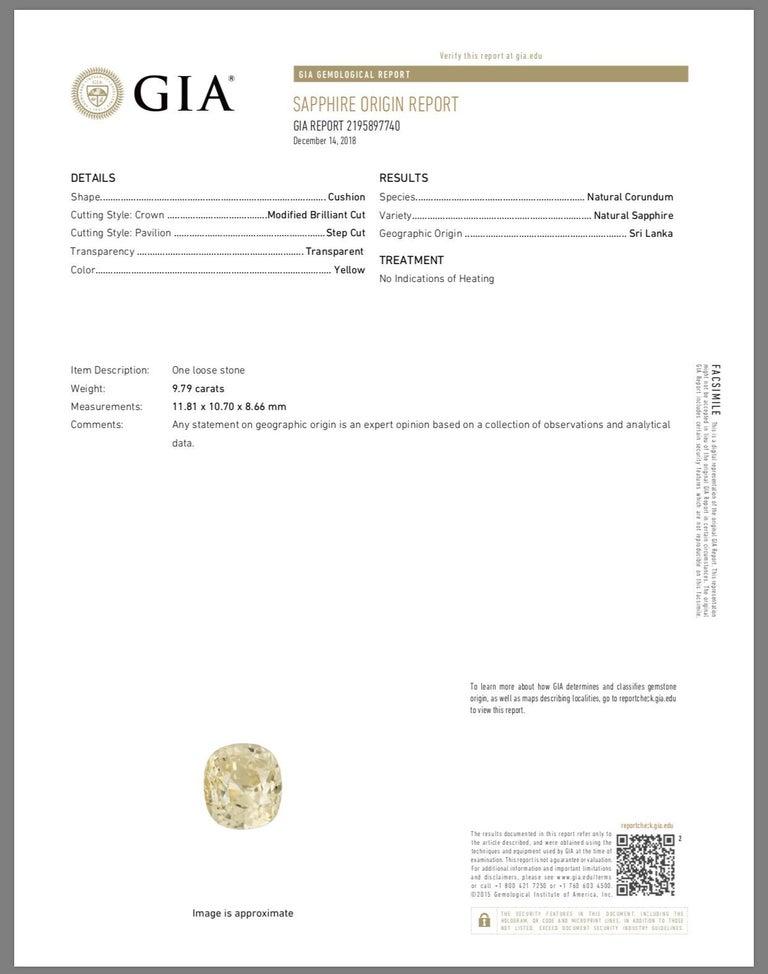 9.79 Carat Cushion Cut Ceylon Natural Yellow Sapphire 'GIA' No Heat Diamond Ring For Sale 1