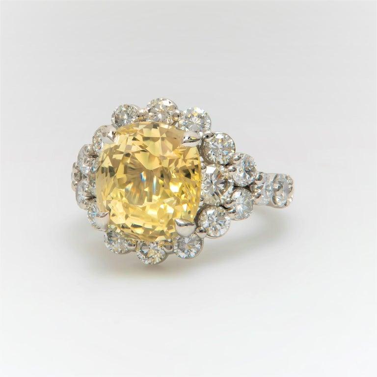 9.79 Carat Cushion Cut Ceylon Natural Yellow Sapphire 'GIA' No Heat Diamond Ring For Sale 2