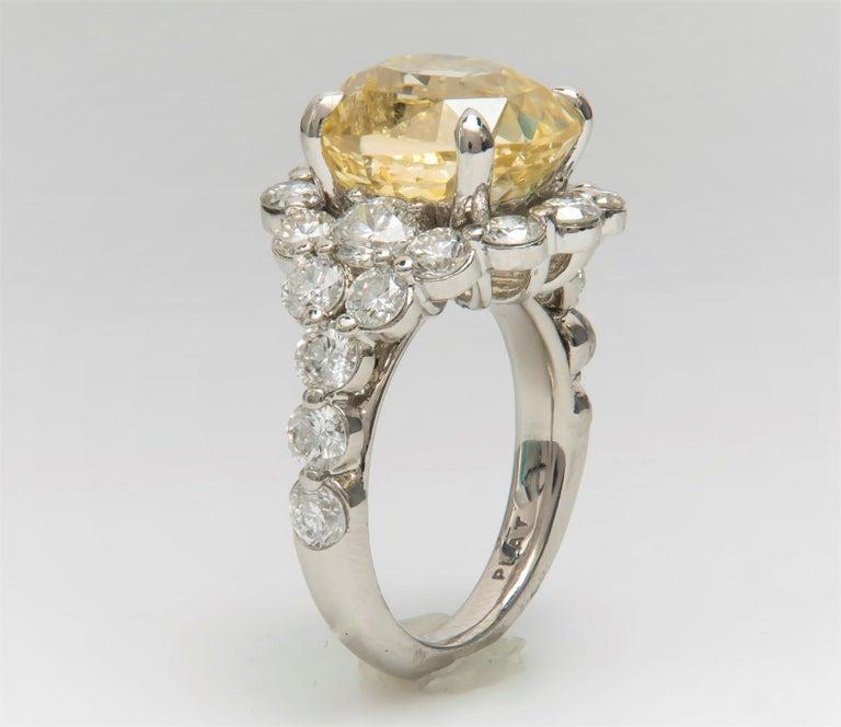 9.79 Carat Cushion Cut Ceylon Natural Yellow Sapphire 'GIA' No Heat Diamond Ring For Sale 3