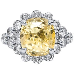 9.79 Carat Cushion Cut Ceylon Natural Yellow Sapphire 'GIA' No Heat Diamond Ring