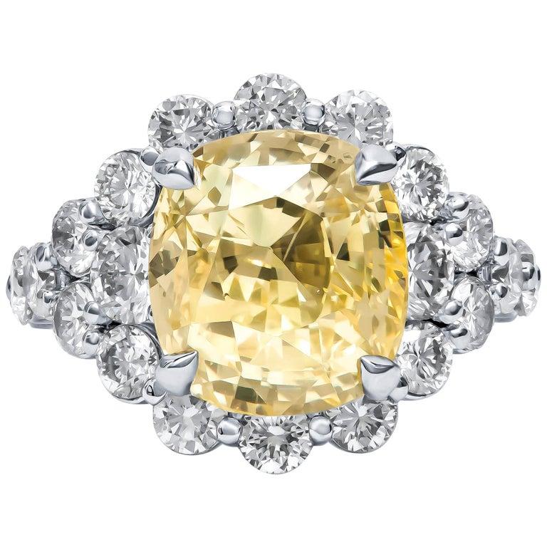 9.79 Carat Cushion Cut Ceylon Natural Yellow Sapphire 'GIA' No Heat Diamond Ring For Sale
