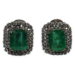 9.79 Carat Natural Emerald White Diamond 18 Karat White Gold Earrings