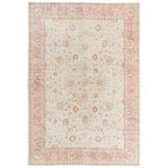 Hand-Knotted Vintage Oushak Area Rug with Palmettes and Flowers Design