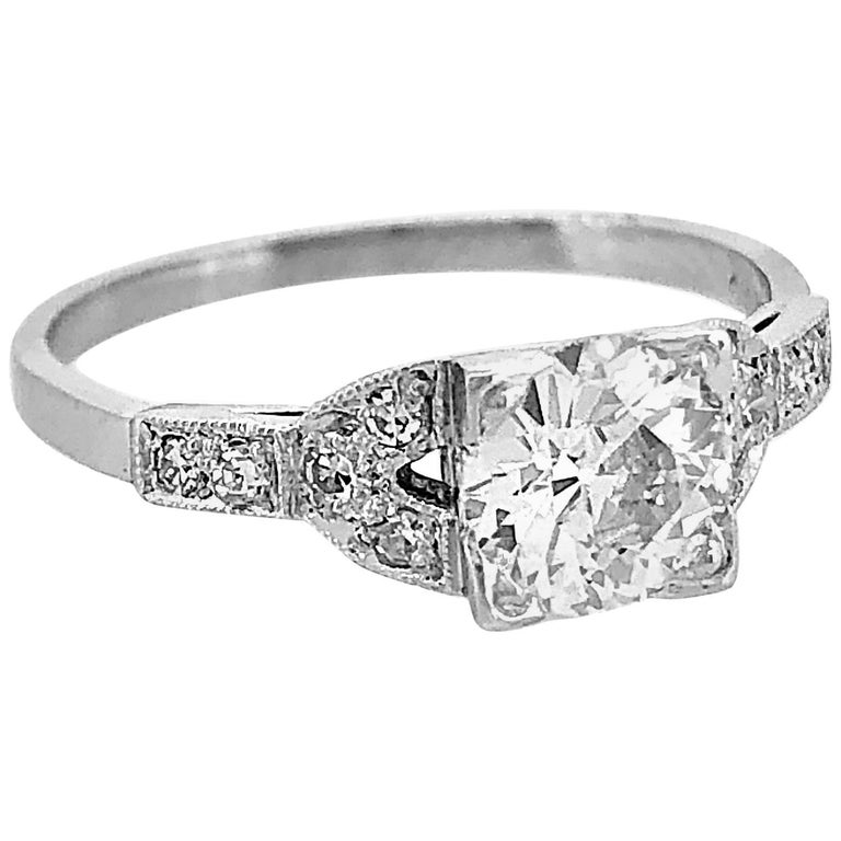 Antique Engagement Rings For Sale: .98 Carat Diamond Antique Engagement Ring Platinum For