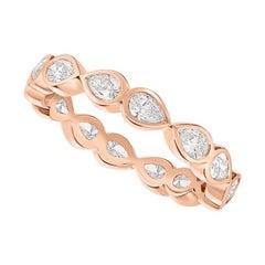 .98 Carat Diamond Pear Shape Bezel Rose Gold Eternity Wedding Band