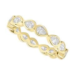 .98 Carat Diamond Pear Shape Eternity Wedding Band 14 Karat Gold