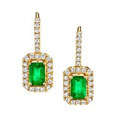.98 Carat Emerald and Diamond Halo 14 Karat Yellow Gold Lever Back Earrings