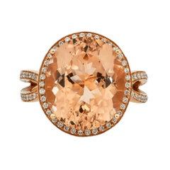 9.8 Carat Morganite and Diamond Ring in 18 Karat Rose Gold