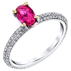 .98 Carat Oval Pink Sapphire Diamond Pave White Gold Cocktail Engagement Ring