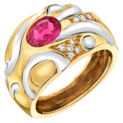Pink-Red Spinel and Diamond 18k Gold Band Ring