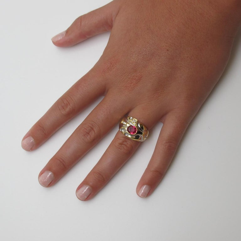 Artisan .98 Carat Pink-Red Spinel with .12 Carat Diamonds Gold Ring For Sale
