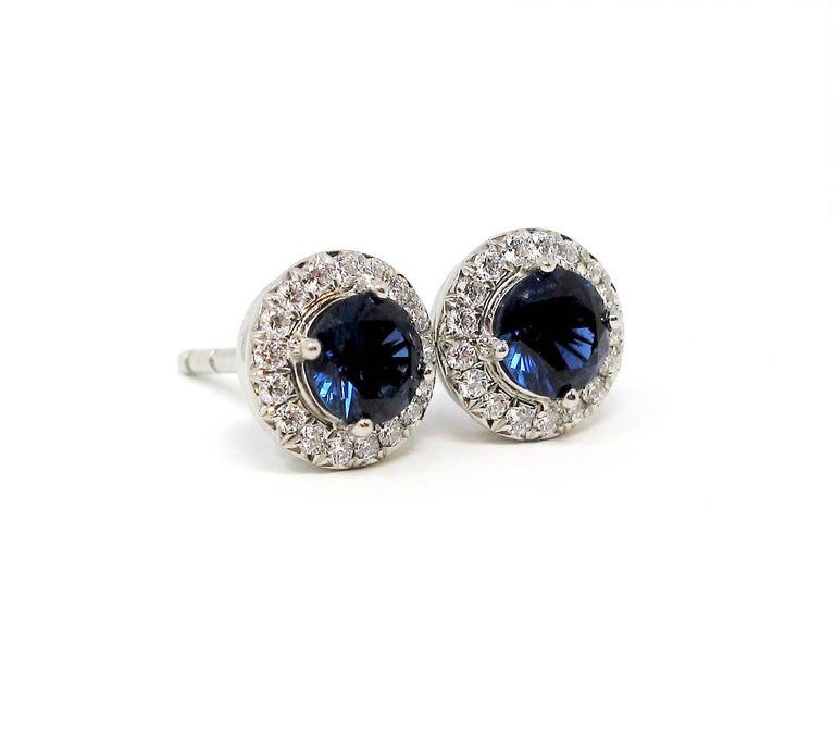 Round Cut .98 Carat Tiffany & Co. Soleste Sapphire and Diamond Halo Stud Earrings Platinum For Sale