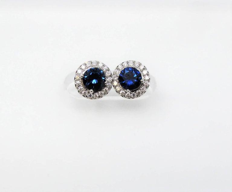 Women's .98 Carat Tiffany & Co. Soleste Sapphire and Diamond Halo Stud Earrings Platinum For Sale