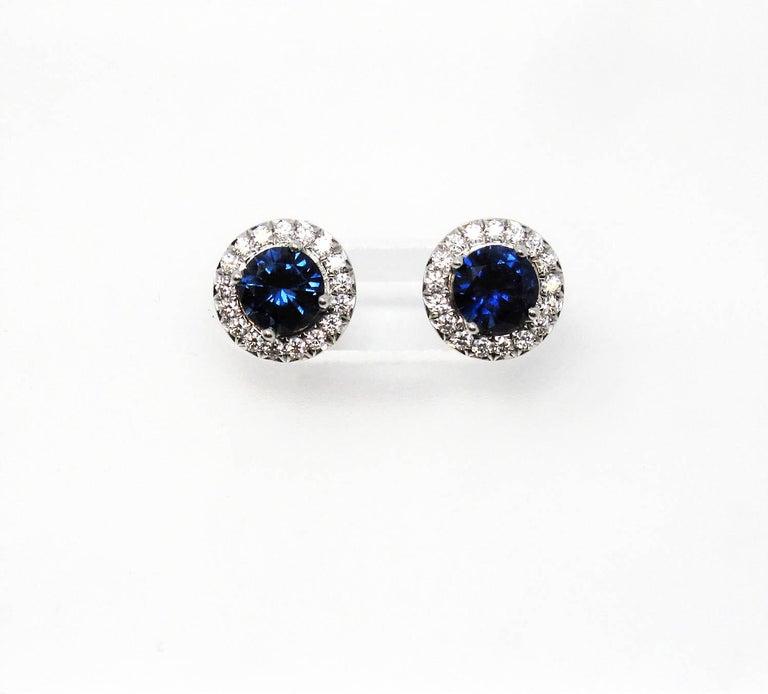 .98 Carat Tiffany & Co. Soleste Sapphire and Diamond Halo Stud Earrings Platinum For Sale 1