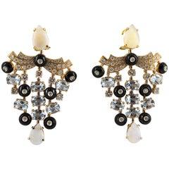 9.80 Carat Aquamarine 5.22 Carat Opal 2.81 Carat Diamond Yellow Gold Earrings