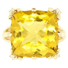 9.80 Carat Cushion Cut Yellow Beryl and White Diamond Cocktail Ring