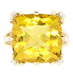 9.80 Carat Cushion Cut Yellow Beryl and White Diamond Ring