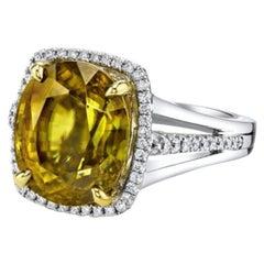 9.80 Carat Cushion Shaped Sphene, Diamond, White, Yellow Gold Cocktail Ring