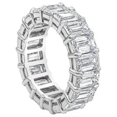 9.80 Carat Emerald Cut Diamond Eternity Wedding Band